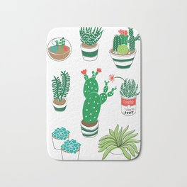 Illustrated Cactii Bath Mat