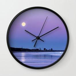 Supermoon setting at Saltburn-by-the-sea Wall Clock