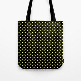 Polka dots Yellow dots over black Tote Bag