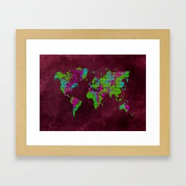 world map 85 green purple Framed Art Print