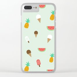 Summer Pattern cute ice creams, watermelon & pineapples Clear iPhone Case