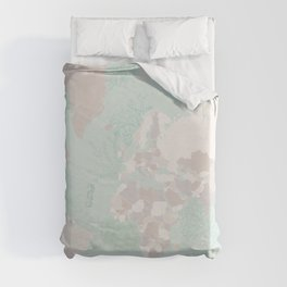 """World map with coral, seaweed and marine creatures, """"Lenore"""" Duvet Cover"""