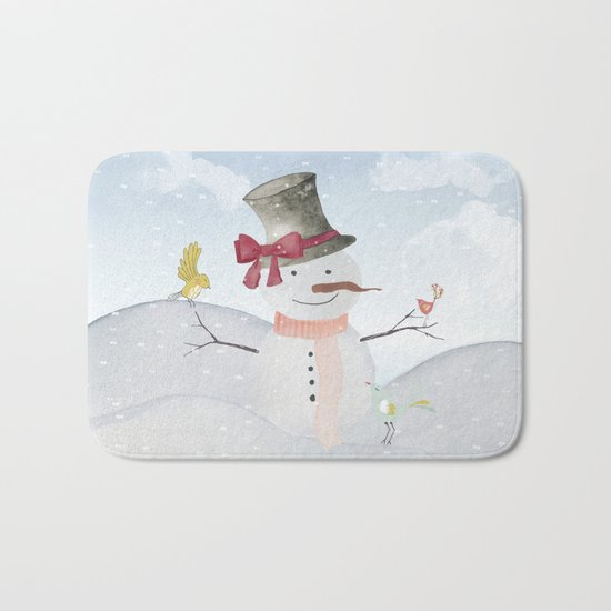 Winter Wonderland- Snowman and birds - Watercolor illustration Bath Mat