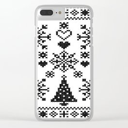 Christmas Cross Stitch Embroidery Sampler Black And White Clear iPhone Case