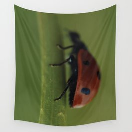 Ladybird on a Flower, macro photography, home, still life, fine art, animal love, nature photo Wall Tapestry