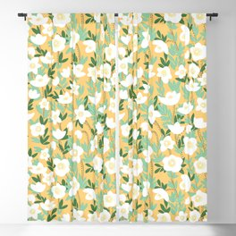 Lemonade Wildflowers in Orange Pattern Blackout Curtain