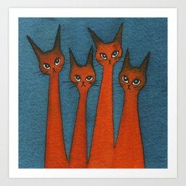 Candy Corn Whimsical Cats Art Print