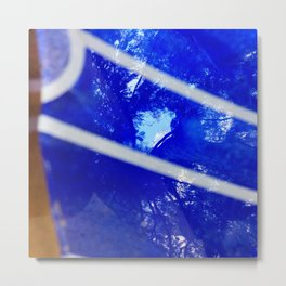 Tree reflection in blue glass Metal Print