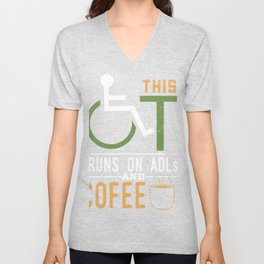 Occupational Therapist Gift Design Idea ADLS & Coffee product Unisex V-Neck