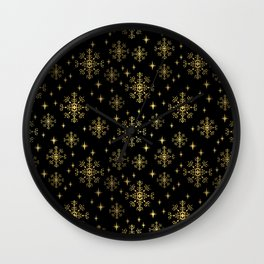 Gold and black snowflakes winter minimal modern painted abstract painting minimalist decor nursery Wall Clock