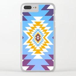 Bright blue native pattern Clear iPhone Case