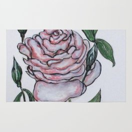 Pink And White Rose Rug