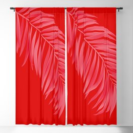 Amaranth Red Tropical Palm Blackout Curtain