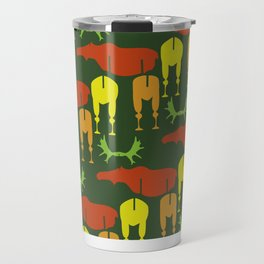 Green Moose Pattern Travel Mug
