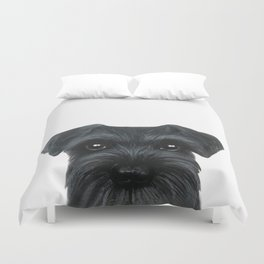 New Black Schnauzer, Dog illustration original painting print Duvet Cover