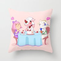 animal crossing Throw Pillows featuring Animal Crossing :: Cake time by Thais Magnta Canha