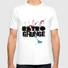 Abstract373 Retro Grunge Mens Fitted Tee White SMALL