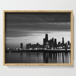 Chicago Skyline Black and White Serving Tray