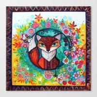 tatoo Canvas Prints featuring tatoo fox by oxana zaika