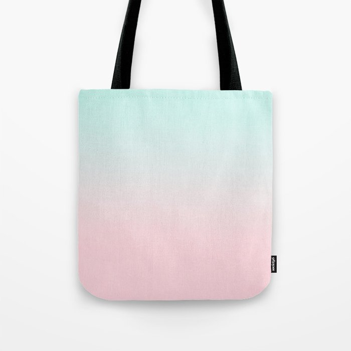Ellie - ombre fade pastel pink and mint gender neutral nursery baby girly trend style Tote Bag