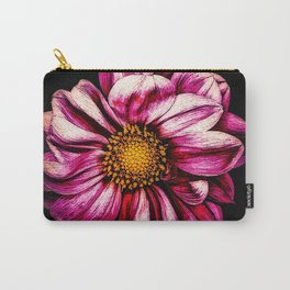 Simple Pink Dahlia On Black Carry-All Pouch