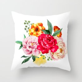 Watercolor Spring Flowers Throw Pillow
