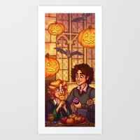 grantaire Art Prints featuring Hogwarts Halloween - Enjolras and Grantaire by juanjoltaire