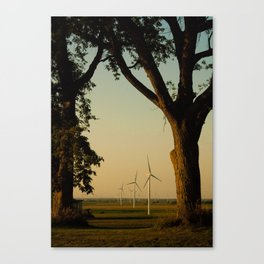 Sunset Turbines in Nature Canvas Print