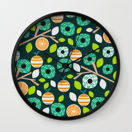 Oranges and flowers Wall Clock
