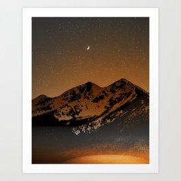 Mountains at night series III // Boulder CO Art Print