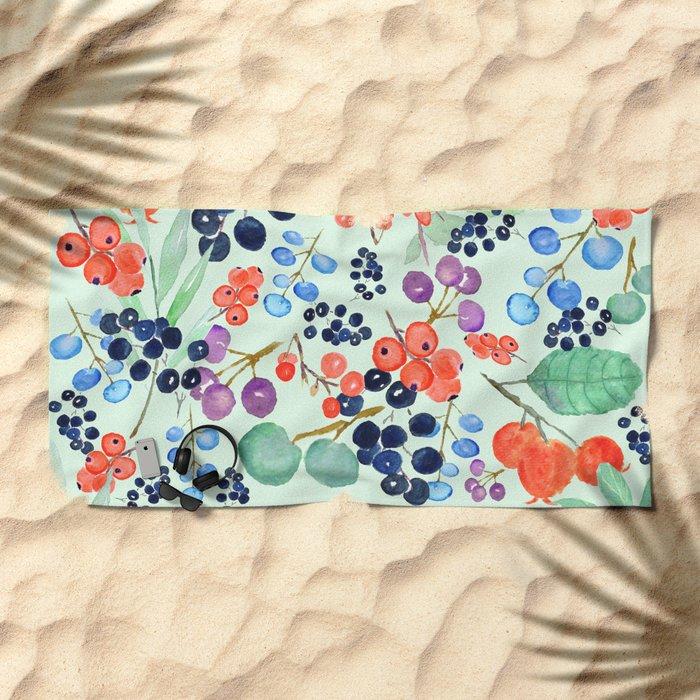 joyful berries Beach Towel