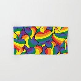 Rainbow Flag Abstract Hearts Design Hand & Bath Towel