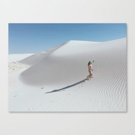 Kid in White Sand Dunes Canvas Print
