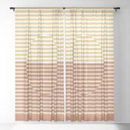 Optical Hypnotic Illusion 3 - Yellow Gold Orange Sheer Curtain