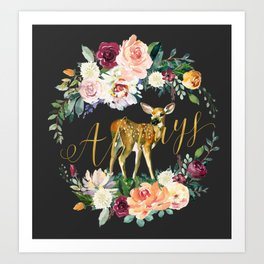Always - Fawn - Gold/Charcoal Art Print