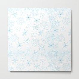Merry Christmas- Blue Snowflakes white pattern Metal Print