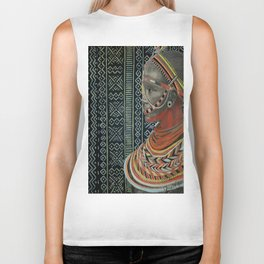 The Red Beads/mud cloth background Biker Tank