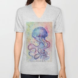 Jellyfish Watercolor Unisex V-Neck