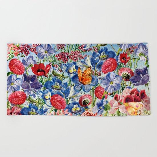Summer Flower Meadow - Watercolor illustration Beach Towel
