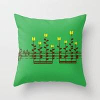 music notes Throw Pillows featuring Music notes garden by Picomodi