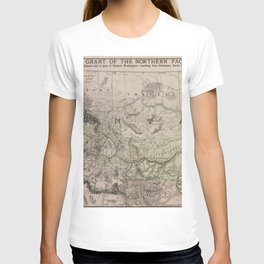 Map Showing The Land Grant Of The Northern Pacific Railing Company T-shirt