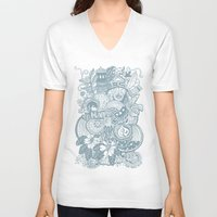 be happy V-neck T-shirts featuring Happy by Moon Rabbit Design