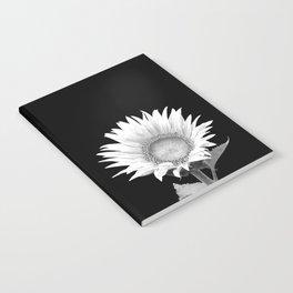 White Sunflower Black Background Notebook