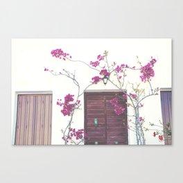 Door and romantic flowers Canvas Print
