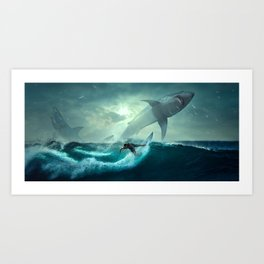 Surfing with sharks Art Print