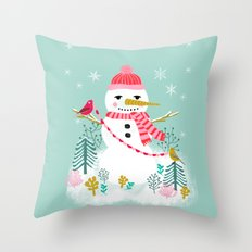Holiday Snowman by Andrea Lauren  Throw Pillow