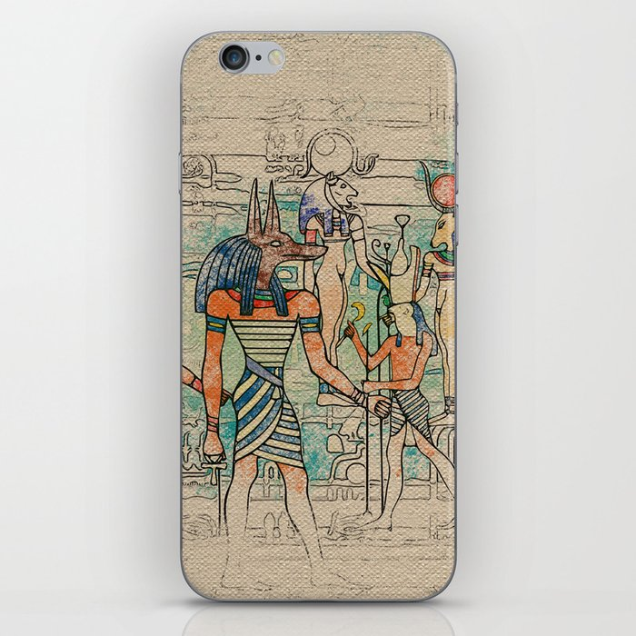 Egyptian Gods on canvas iPhone Skin