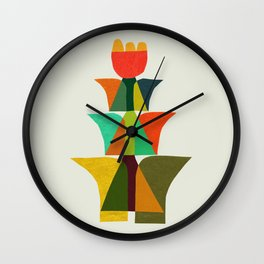 Whimsical bromeliad Wall Clock