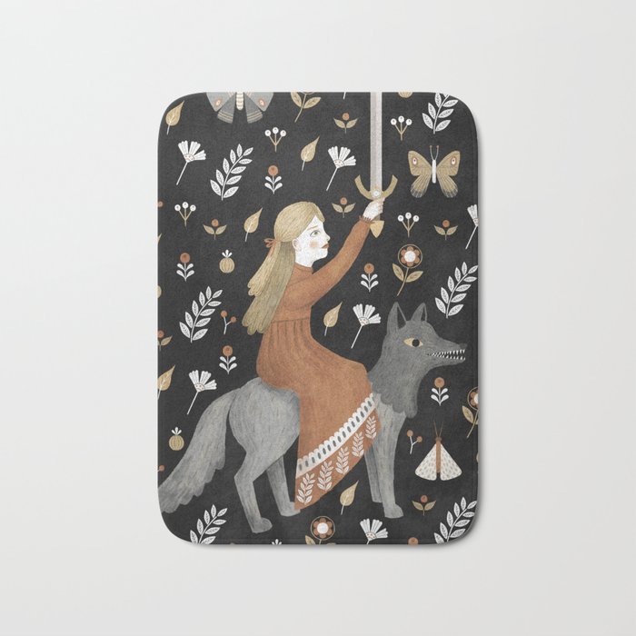 dark wolf warrior Bath Mat