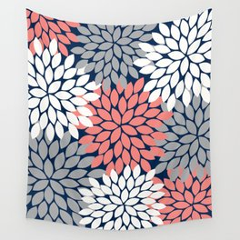Flower Burst Petals Floral Pattern Navy Coral Gray Wall Tapestry